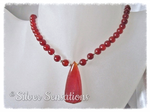 Red Agate Pendant & Sterling Silver Necklace